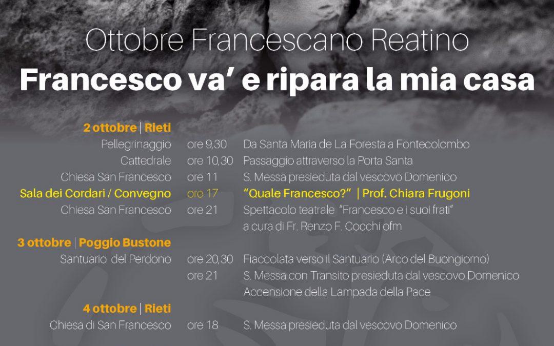 "Ottobre Francescano Reatino – ""Francesco va' e ripara la mia casa"""