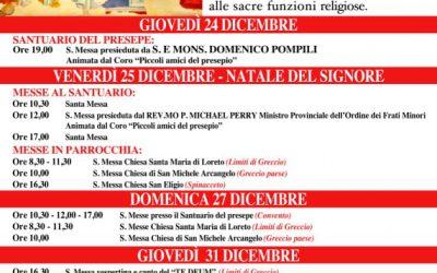 Natale 2020 – Celebrazioni liturgiche a Greccio